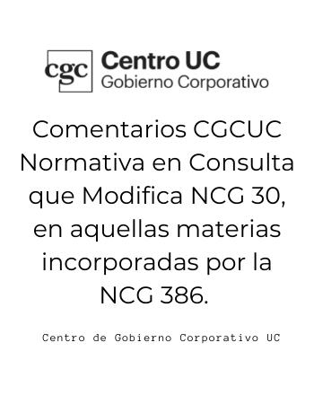Comentarios CGCUC Consulta Normativa CMF (NCG 30)