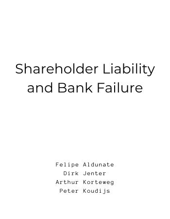 Shareholder Liability and Bank Failure