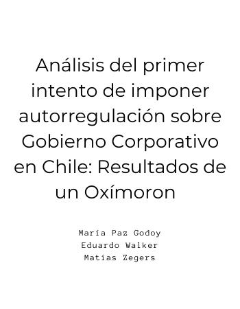 Análisis del Primer Intento de Imponer Autorregulación sobre GC en Chile