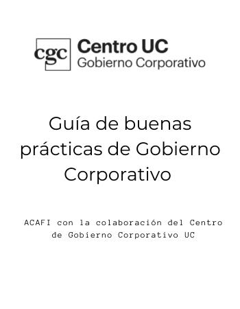 Guía de Buenas Prácticas de Gobierno Corporativo Acafi