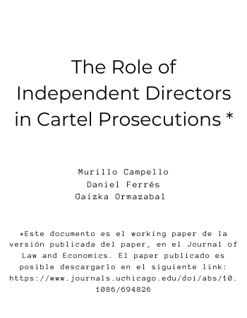 The role of Independent Directors in Cartel Prosecutions