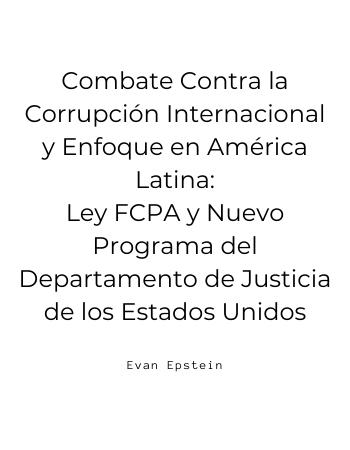 Combate Contra la Corrupción Internacional y Enfoque en América Latina